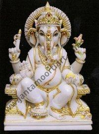 White Marble Polished Ganesha Statue