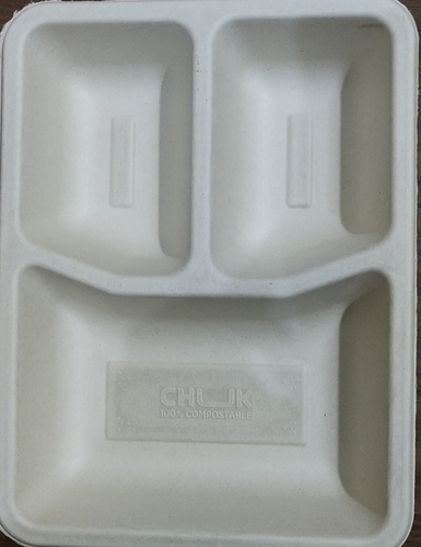 Sugarcane bagasse 3cp meal tray(3cp)