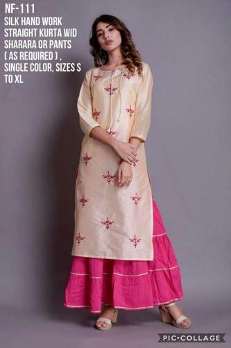 Silk Hand Work Straight Kurta with Sharara or Pants