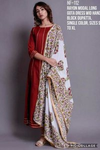 Rayon Model Long Gota Dress Wid Hand Block Dupatta