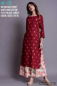 Rayon Gold Print Kurta With Cotton Flex Palazo
