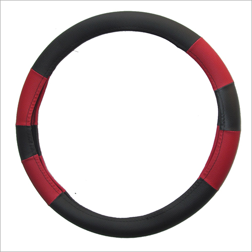 Stylish Balack & Red Car Steering Cover