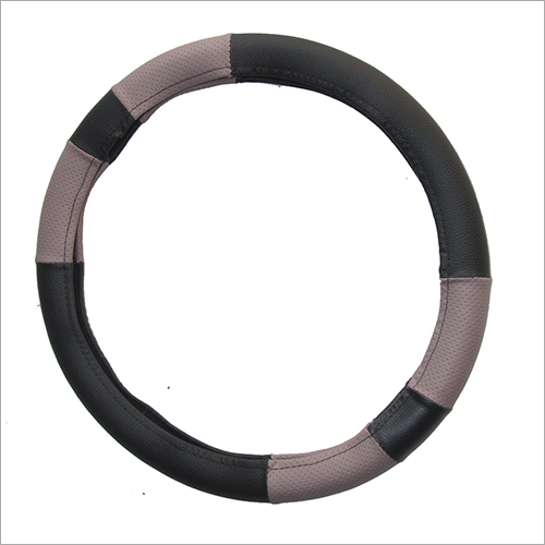Stylish Balack & patato Beige Car Steering Cover