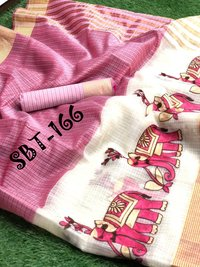 ELEPHANT DESIGN EMBROIDERY WORK SAREE WITH CHIT PALLU