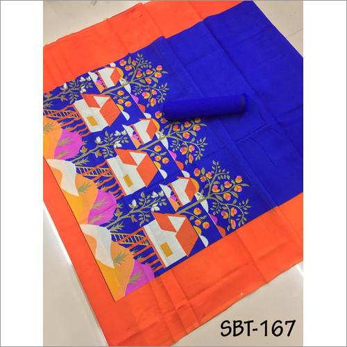 Printed Art Silk Saree With Plain Banglori Blouse