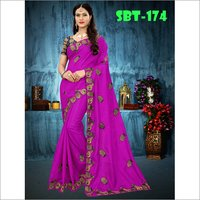Heavy Embroidery work Sana Silk Saree