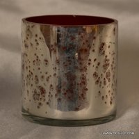 SMALL GLASS SILVER T-LIGHT CANDLE