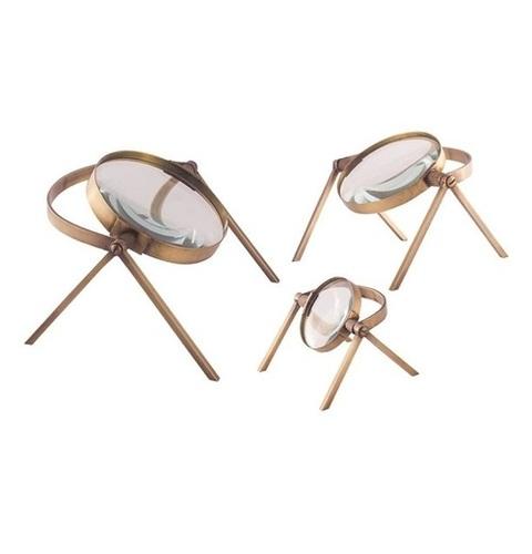 Titan Lighting Oculi Decorative Magnifying Lenses in Antique Brass Set of 3