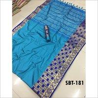 Jacquard Printed Plain Cotton Silk Saree