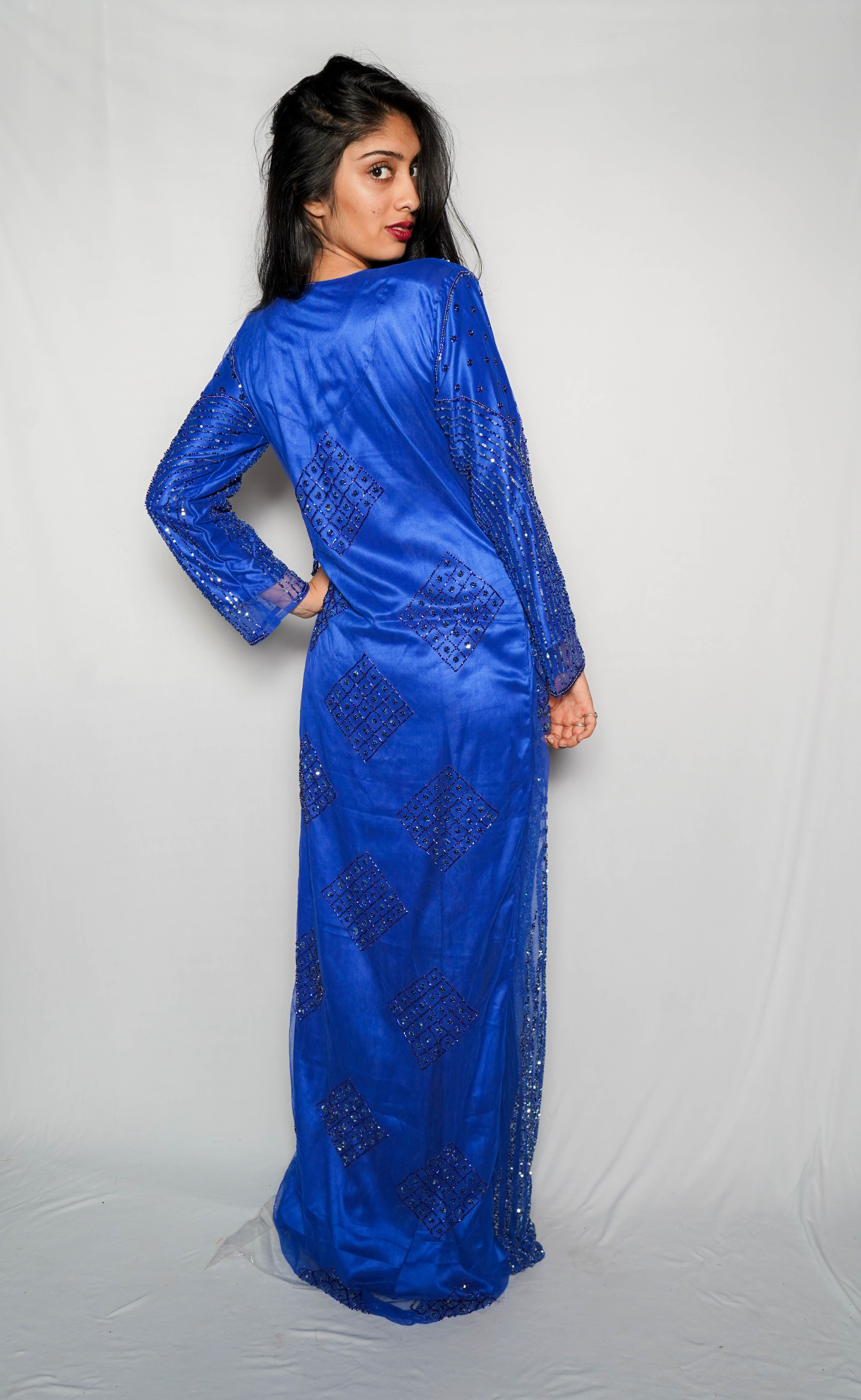 Ladies Egyptian Blue Gown Dress