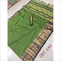 Plain Cotton Silk With Peacock & Flower Jacquard Printed Border Saree
