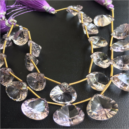 Pink Amethyst Concave Cut Faceted Briolettes Beads
