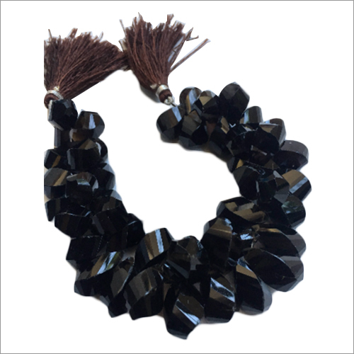 8 Inch  Smokey Quartz Twisted Briolette Beads