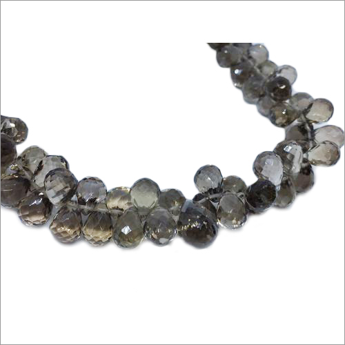 Smokey Teardrop Shaped Faceted Beads