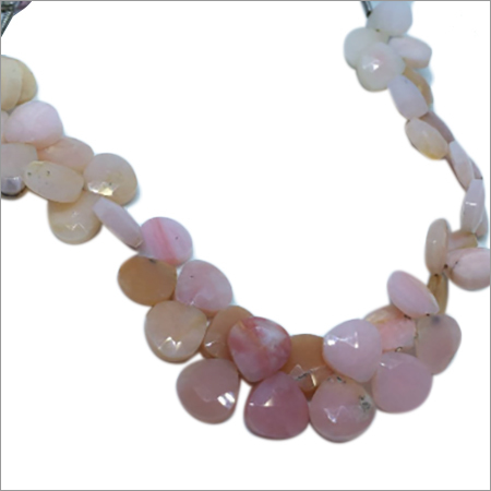 Pink Opal Heart Shaped Faceted Beads
