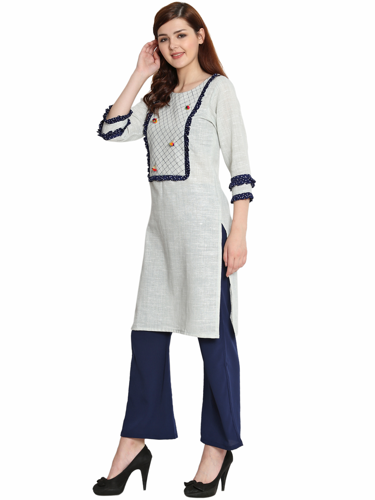 Ladies Grey Cotton Khadi Kurti