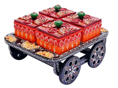 Indian Handicraft Hand Painted Decorative Wooden Cart Dry Fruit Box