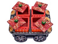 Indian Handicraft Hand Painted Decorative Wooden Cart Dry Fruit Box