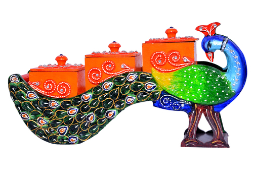 Indian Handmade Peacock Design Painted Home Decorative Dry Fruit Wooden Box