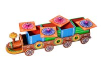 Indian Home Decorative Hand Painted Train Design Wooden Dry Fruit Box