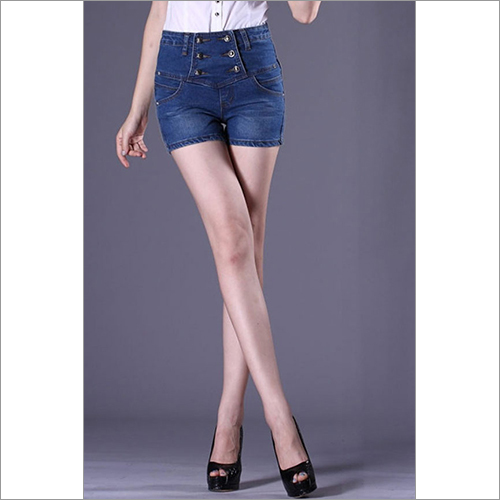 Ladies Denim High Waisted Short