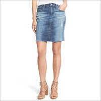 Ladies Light Blue Denim Skirt