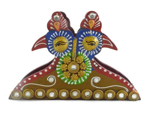 Indian Home Decor Handcrafted Wooden Tissue Paper Peacock Design Box