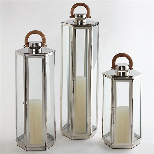 SS Hexagonal Candle Lantern