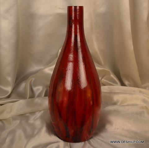 RED GLASS DECOR FLOWER VASE