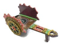 Traditional Indian Handmade Decorative Handicraft Open Wine Bottle Antique Chariot Wooden Case