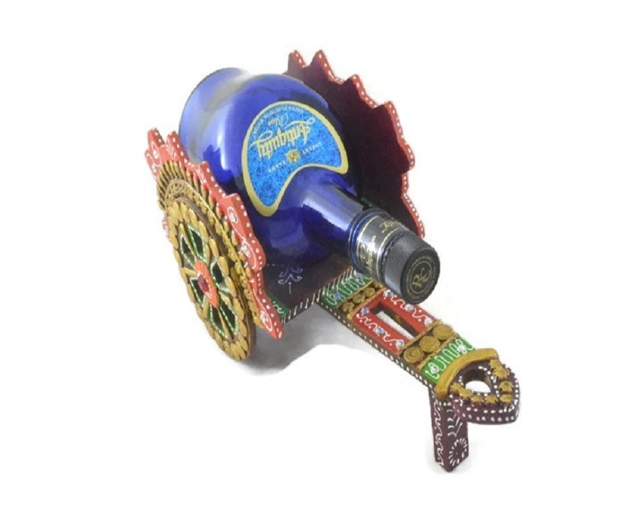 Traditional Indian Handmade Decorative Handicraft Open Wine Bottle Antique Chariot Wooden Case