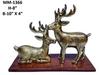 Deer Pair in Brass with wood Base