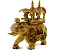 Indian Handmade Home Decorative Figurine Hand Painted Resin Elephant Huge Statue