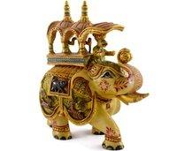 Indian Handmade Home Decorative Figurine Hand Painted Resin Elephant Huge Statue