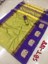 Elephant Embroidery Work on Border & Flower Butta on body Cotton Silk Saree With Jhalar