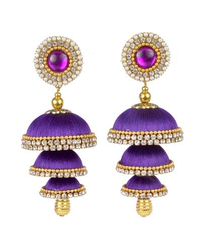 Handmade Traditional Silk Thread Purple Jhumka Earrings