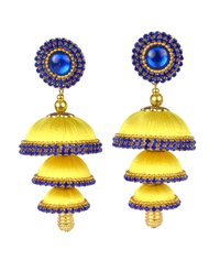 Fashion Silk Thread Yellow Jhumka Earrings