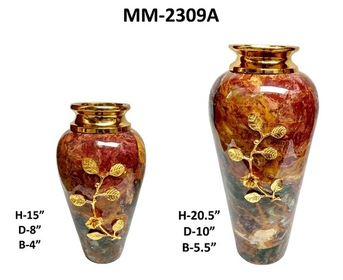 Shiny Brass Large Marble Planter Pot For Home Decor