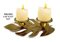 Gold Leaf with Candle Stand For Decor