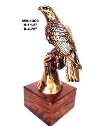 Brass Eagle With Wood Base For Decor