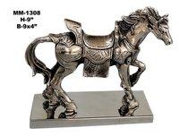 Aluminum Horse Metal Statue Showpiece with base