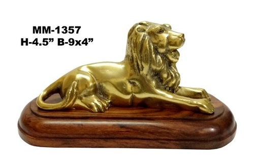 Brass Lion Sculpture with wood Base