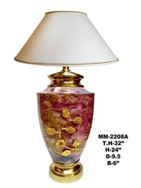 Marble Shade Table Lamp With Leaf For Home