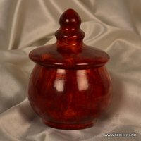 RED COLOR GLASS JAR WITH GLASS LID