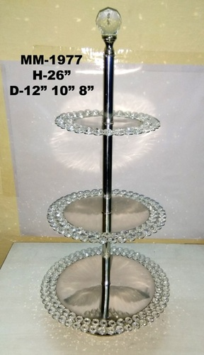Crystal Silver Plate Decorative Stand For Home Decor