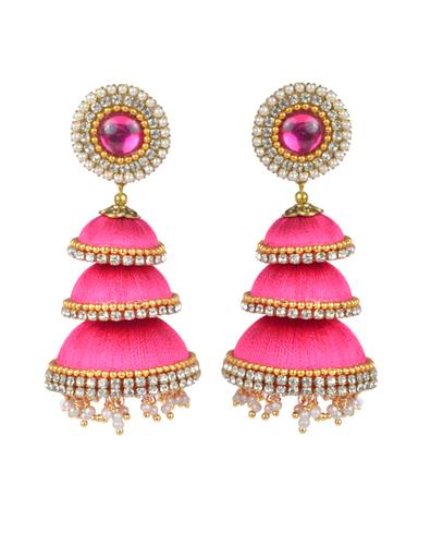 Latest Design Silk Thread Jhumka Earrings