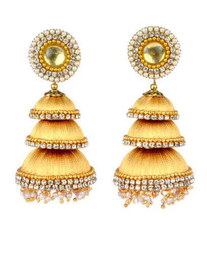 Long Fashion Designer Silk Thread Earrings