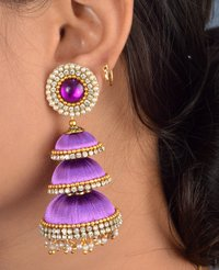 Long Latest Designer Silk Thread Earrings