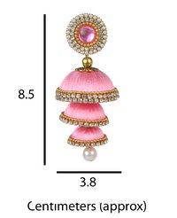 Pink Silk Thread Handmade Earrings