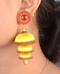 Three Step Yellow Silk Thread Jhumka Earrings